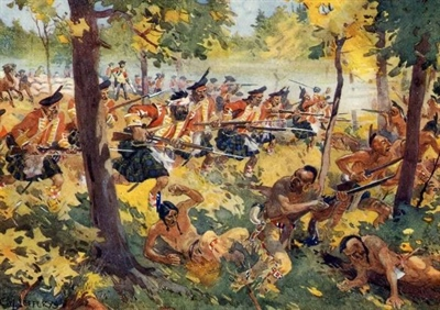 The Battle of Bushy Run by CW Jeffreys, Canadian Military Heritage, Department of Defense.