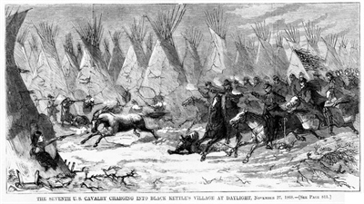The Seventh U.S. Cavalry charging into Black Kettle's village at daylight, November 27, 1868., Illus. in AP2.H32 1868 Case Y [P&P], 1868, Harper's weekly, v. 12, 1868 Dec. 19, p. 804.