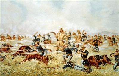 An 1899 chromolithograph from the Werner Company of Akron, Ohio entitled Custer Massacre at Big Horn, Montana — June 25, 1876.